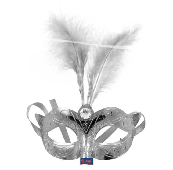 Venizianische Maske, Kunststoff, Einheitsgröße, silber mit Federn + Strass-Stein