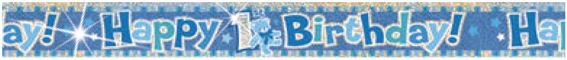 Happy 1st Birthday-Banner, holo, blau, ca. 365 cm