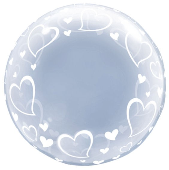 "Kunststoffballon 'Deco Bubble - Stylish Hearts' (G) ca. 24"" / 61 cm Ø"
