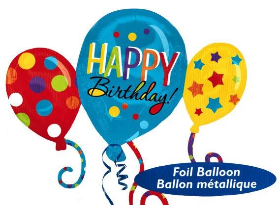 Folienballon-Shape (F) 'Happy Birthday - Ballon-Trio' ca. 86 cm