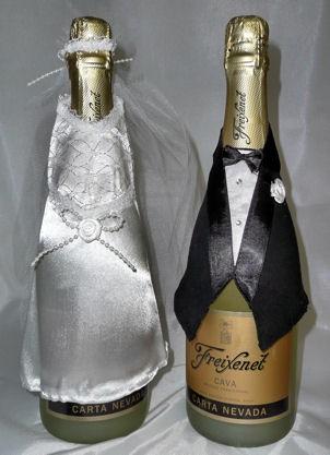Flaschen-Deko 'Hochzeit' auf Karte: Anzug & Brautkleid mit Schleier
