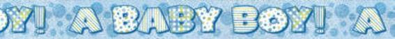 'A Baby Boy'-Banner, holo, blau, ca. 3,65 m lang