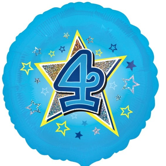 Folien-Rundballon 'Blue Stars 4', ca. 45 cm Ø, verschiedene Ausführungen