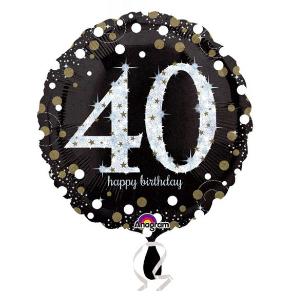Folien-Rundballon (A) 'Black & Gold - 40 Happy Birthday', ca. 45 cm Ø