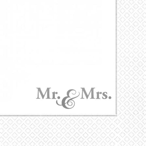 Servietten mit Hochzeits-Motiv 'Mr. & Mrs.', 20er-Pack., schneeweiß