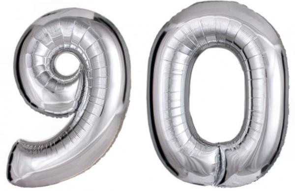 Folien-Zahlenballons (G), silber - XXL - 90, Gas geeignet