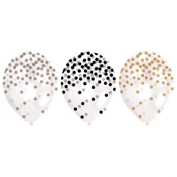 Latex-Rundballon 'Golden Wishes', perl-weiß im 6er Pack.