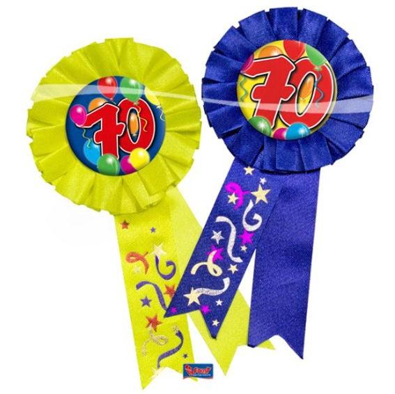 'Rosette 70 - Ballons' mit Nadel, ca. 15 cm lang, in blau oder gelb