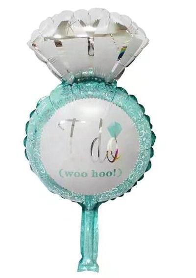 Mini-Folien-LUFTballon 'Diamantring - I Do' türkis