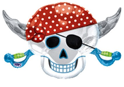 Folienballon 'Pirates Party Skull', ca. 71 cm Ø, ohne Gasfüllung