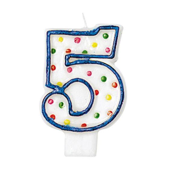'5 - Polka Dots' Party-Zahlen-Kerze