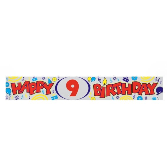 'Happy 9th Birthday'-Banner, ca. 270 cm lang