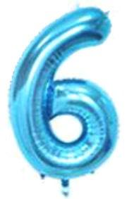 Folien-Zahlenballon (G), blau - XXL - 6, Gas geeignet