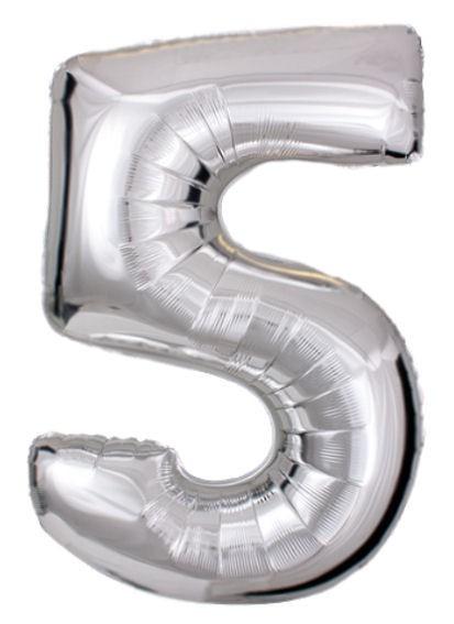 "'Zahl 5', silber, Mini-Folienballon mit Ventil ca. 16"" / 40 cm"