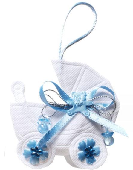 Kleine Tasche 'Kinderwagen', hellblau, originelles Geldgeschenk