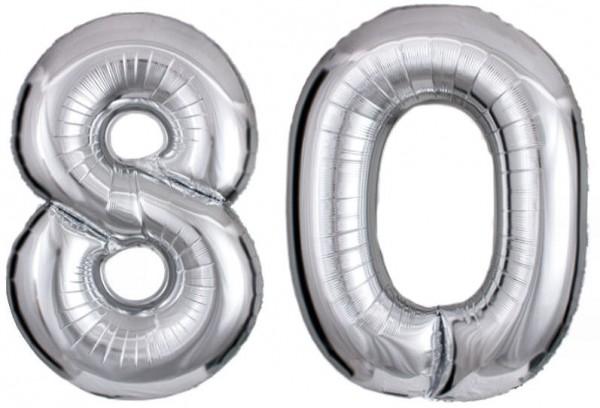 Folien-Zahlenballons (2 x G), silber - XXL - 80, Gas geeignet