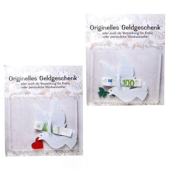 'Taube' originelles Geldgeschenk, Filz mit Herz oder mit Ölzweig, ca. 10,5 x 11,