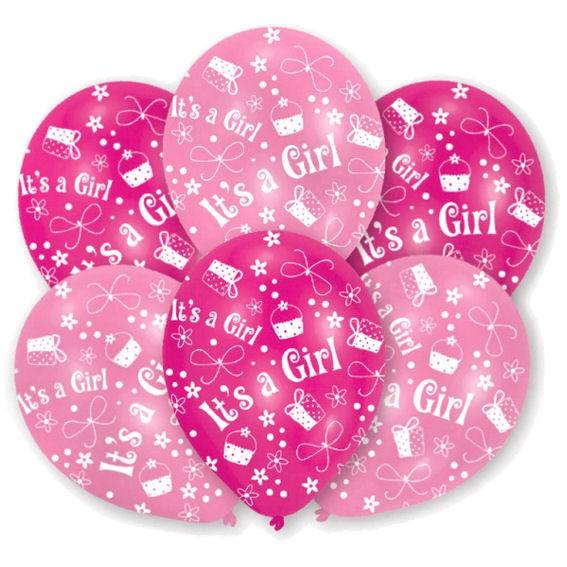 Latex-Rundballon im 6er Pack. 'It's A Girl'-Motiv, pink/rosa