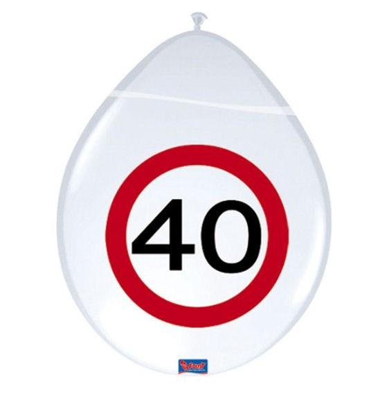 'Verkehrszeichen 40' - Luftballons, ca. 30 cm Ø, weiß, 1-S-Druck, im 8er-Pack.