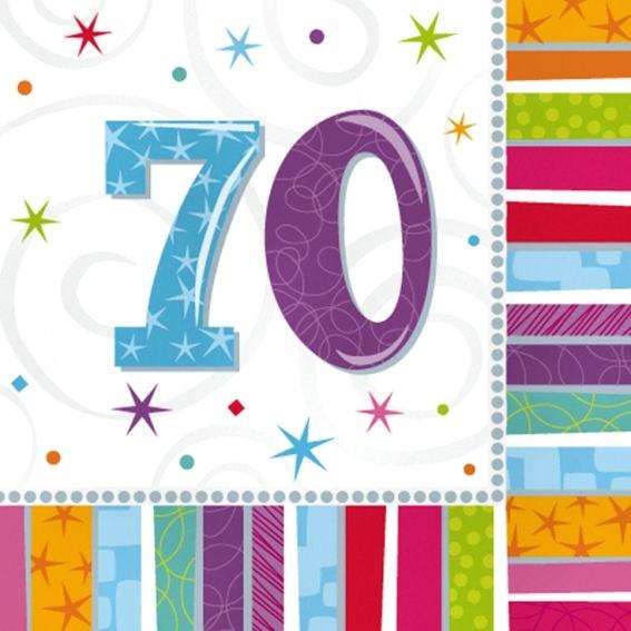 Servietten 'Radiant - Birthday 70th', 16er-Pack., ca. 33 x 33 cm