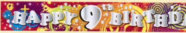 'Cool Kidz - Happy 9th Birthday'-Banner, ca. 270 cm lang