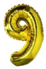 Folien-Zahlenballon (G), gold - XXL - 9, Gas geeignet
