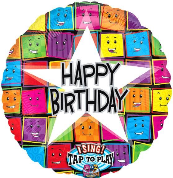 Folien-Rundballon 'Singing Balloon - Happy Birthday Faces', ca. 71 cm Ø