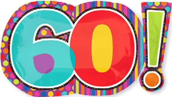 Folien-Zahlenballon '60! - Birthday Dots & Stripes', ca. 74 cm, ohne Gasfüllung