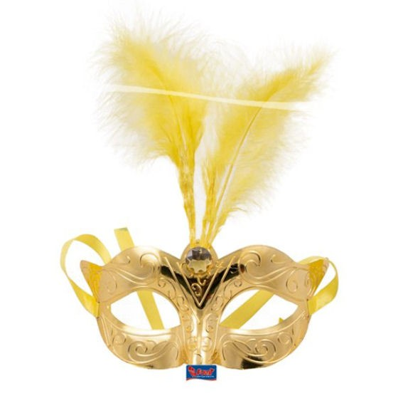 Venizianische Maske, Kunststoff, Einheitsgröße, gold mit Federn + Strass-Stein