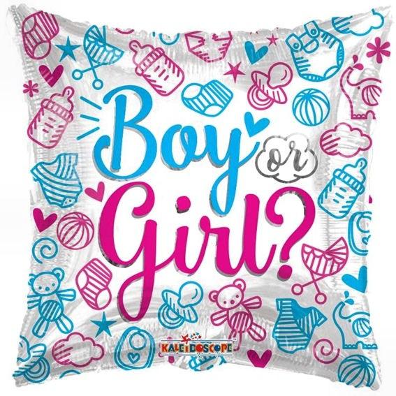 Folien-Square-Balloon 'Boy or Girl - Gender Reveal', ca. 46 cm Ø