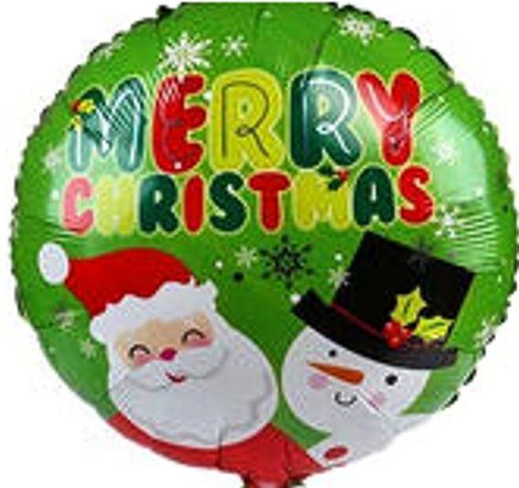 Folien-Rundballon (A) 'Merry Christmas - Santa + Frosty', ca. 43 cm