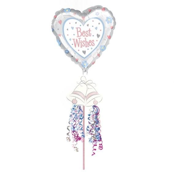 Folienballon-Stecker (A) 'Best Wishes - Floral Pick', Folienherz mit Stecker