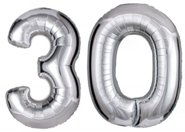 Folien-Zahlenballons (G), silber - XXL - 30, Gas geeignet