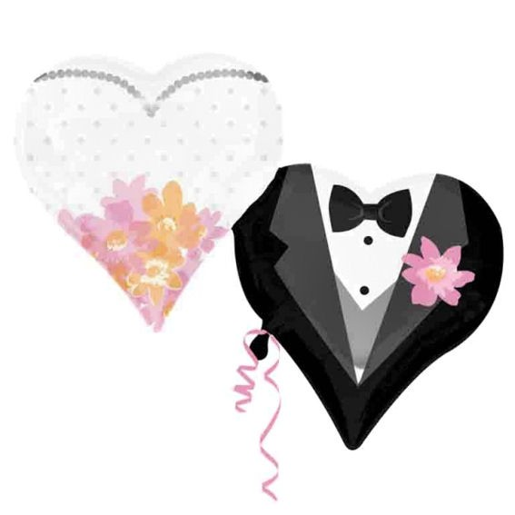 FolienShapeballon (F) 'Wedding Couple Hearts', ca. 76 cm