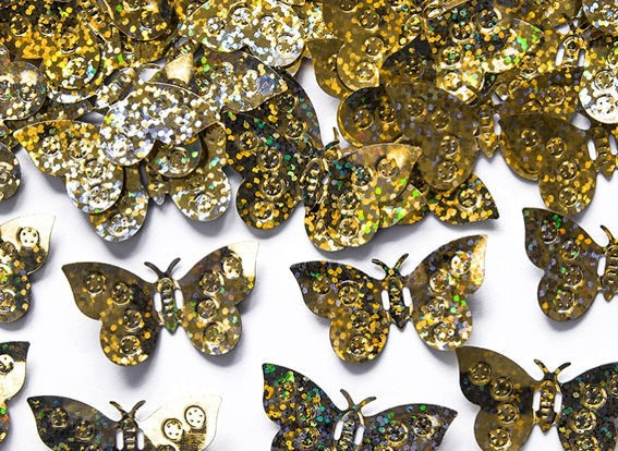 Holographische 'Schmetterlinge' gold, Flitterbox-Streuartikel, ca. 15 gr.