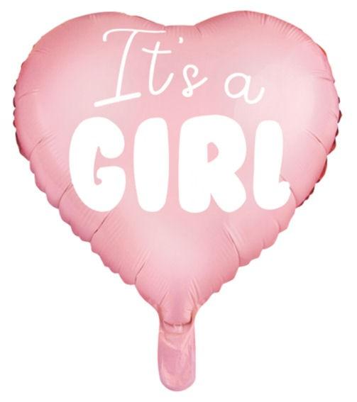Folien-Herzballon (A) 'Heart - It's a girl', ca. 45 cm Ø