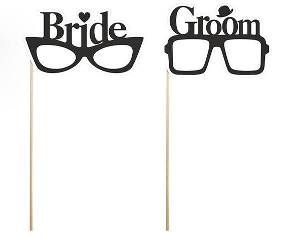 'Bride + Groom-Glasses / Brillen' im 2er-Pack., 24 cm, Papierartikel auf Holzsta