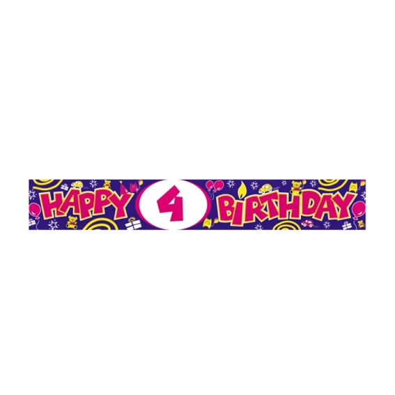 'Happy 4th Birthday'-Banner, ca. 270 cm lang