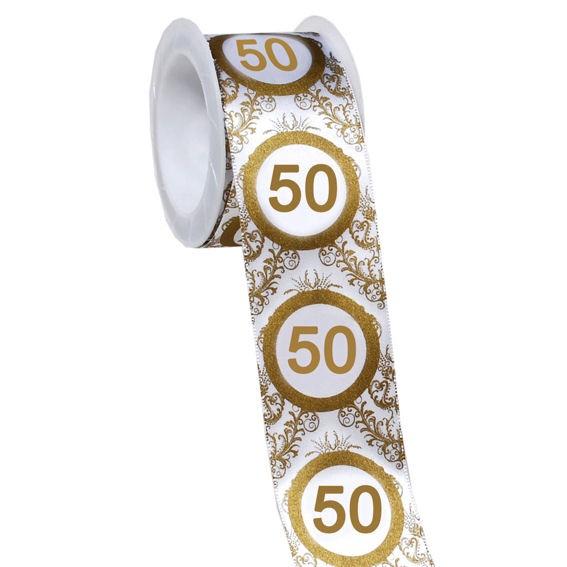 '50' Geschenk-Stoffband, ca. 4 cm x 3 mtr.