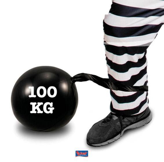 'Aufblasbare Sträflingskugel' schwarz, mit 100 kg-Aufdruck