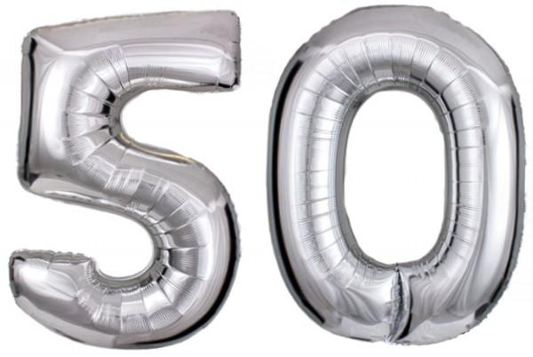 Folien-Zahlenballons (G), silber - XXL - 50, Gas geeignet