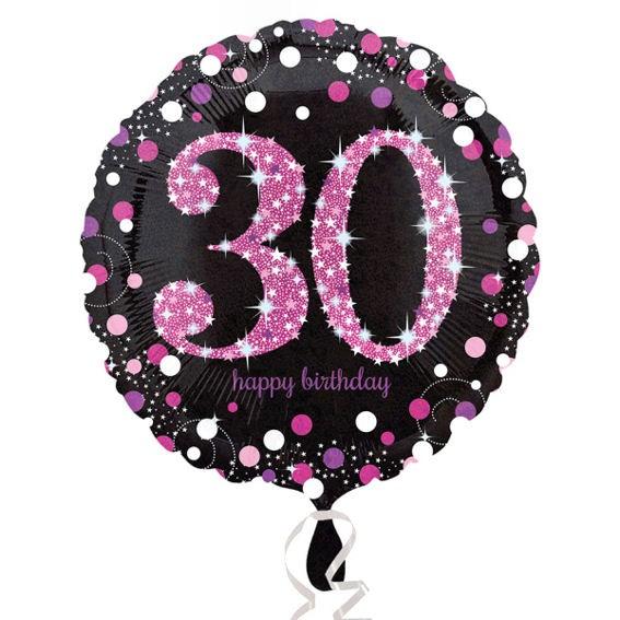 Folien-Rundballon (A) 'Pink Celebration - 30 Ha-Bday' ca. 45 cm