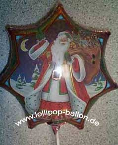 Folienballon-Stecker 'Weihnachtsmann - 7-eckig'
