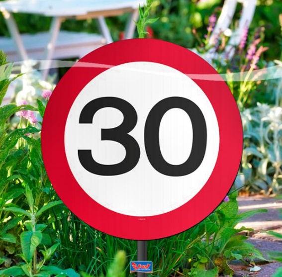 'Verkehrszeichen 30' Gartenschild, ca. 25 cm Ø, Kunststoff