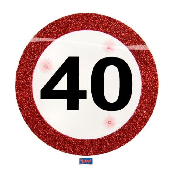 'Verkehrszeichen 40' LED Party Button, mit Nadel + Aufsteller, II.Wahl