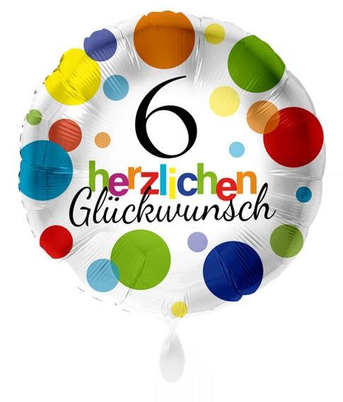 Folien-Rundballon 'Herzlichen Glückwunsch - Punkte 6', ca. 45 cm Ø