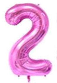 Folien-Zahlenballon (G), pink - XXL - 2, Gas geeignet