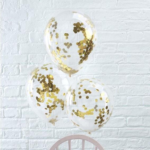 "'Confetti-Balloons' 12"", 5 transparente Ballons mit goldenem Konfetti"