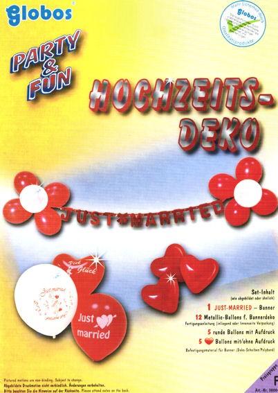 Hochzeits-Set: 'Just Married'-Girlande, Ballons & Befest.-Material, 23-tlg.
