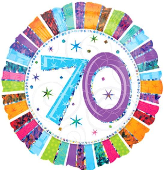 Folien-Rundballon 'Radiant Birthday 70', ca. 45 cm Ø, verschiedene Ausführungen